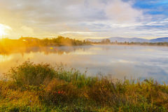 Lake in the mountains for recreation . Early morning Royalty Free Stock Image