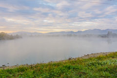 Lake in the mountains for recreation . Early morning Royalty Free Stock Photography