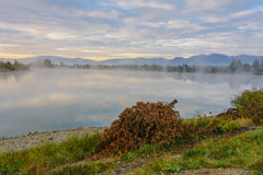 Lake in the mountains for recreation . Early morning Stock Images