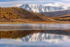 Lake mountains reflection ice autumn Royalty Free Stock Photo