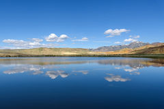Lake mountains reflection sky clouds Stock Photo
