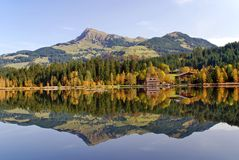 Lake and mountains at Schwarzsee - Kitzbuhel Austr Stock Photo