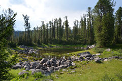 Lake in the mountains of Siberia Stock Photo