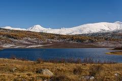 Lake mountains snow autumn stock images