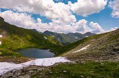 Lake in mountains with snow on hillside. Clear lake in mountains with snow and grass on rocky hillside. dramatic weather in picturesque summer scenery Stock Images