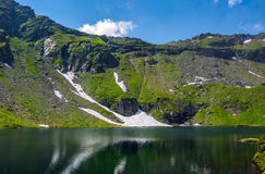 Lake in mountains with snow on hillside Royalty Free Stock Photography