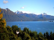 Lake and Mountains. Spectacular view over a lake, mountains and forest in Patagonia stock image