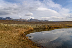 Lake mountains steppe sky clouds Royalty Free Stock Photos