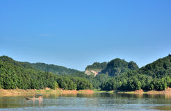 Lake among mountains in Taining, Fujian, China Royalty Free Stock Photography