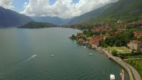 Lake with mountains and towns in Italy stock video footage