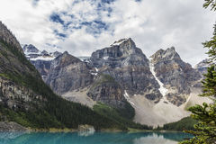 Lake mountains trees landscape at Lake Moraine, Canada Stock Photos