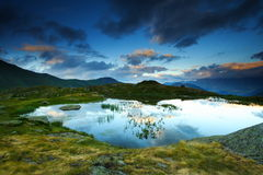 Lake and mountains at twilight, france Royalty Free Stock Images