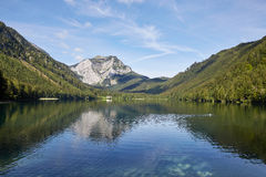 Lake and mountains at the Vorderer Langbathsee in Salzkammergut, Royalty Free Stock Photo