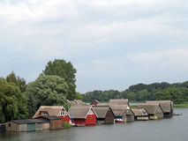 Lake Mueritz. With thatched boathouses in Mecklenburg-Western Pomerania, Germany stock photos