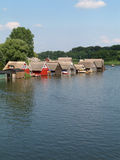 Lake Mueritz. With thatched boathouses in Mecklenburg-Western Pomerania, Germany stock images