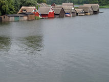 Lake Mueritz. With thatched boathouses in Mecklenburg-Western Pomerania, Germany Royalty Free Stock Photo