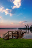Lake Muray Dock at Sunrise. Lake Murray dock at sunrise with pink and blue sky Royalty Free Stock Image