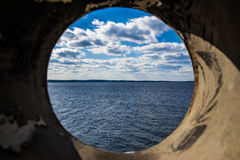 Lake Murray South Carolina Landscape Through Pipe Perspective Royalty Free Stock Images