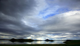 Lake Myvatn Iceland. Silhouetted hills at Lake Myvatn Iceland Stock Photography