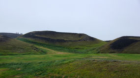 Lake Myvatn pseudocrater. In the mist in Iceland royalty free stock images