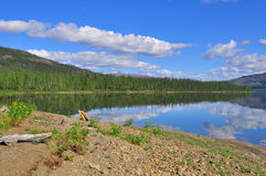 Lake Nakomyaken in the Putorana plateau. Stock Photo