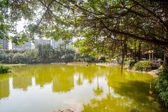 The lake of National Dr. Sun Yat-Sen Memorial Hall. At Taipei, Taiwan stock photos