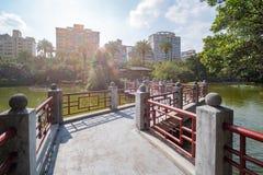 The lake of National Dr. Sun Yat-Sen Memorial Hall. At Taipei, Taiwan stock images