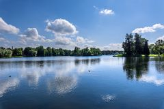 Lake in a natural park with trees growing on the banks Royalty Free Stock Photography
