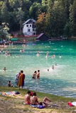 Lake, nature and leisure people tourists. Bled, Slovenia royalty free stock photo