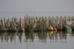 Fishing nets, decorated with plants. Lake Kerkini, northern Greece. stock photography