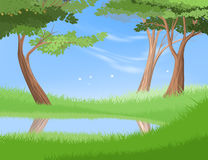 Lake in nature vector forest scene Stock Images