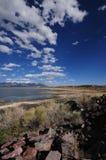 Lake Near Alamosa. Colorado USA. Dark Blue Cloudy Sky Royalty Free Stock Images