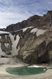 The lake near the crater of the volcano Mutnovsky, Kamchatka, Ru Royalty Free Stock Images