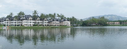 Lake near luxurious tropical resort Stock Photo