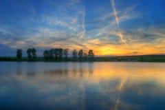 Lake near Maslarevo, Bulgaria - sunset stock photo