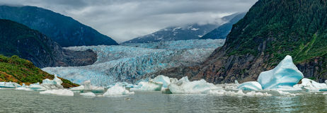 Lake near Mendhenall Glacier huge landscape. Alaska Juneau Lake near Mendhenall Glacier huge panorama Royalty Free Stock Image
