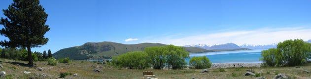 Lake near Mt Cook, New Zealand. Beautiful panorama of Mt Cook overlooking lake in New Zealand Stock Photo