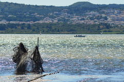 Free Lake Near Narbonne France With Fishingnets Royalty Free Stock Photos - 38664828