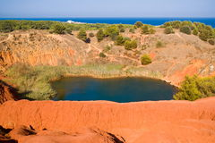 Lake near a quarry of bauxite, Italy Stock Image