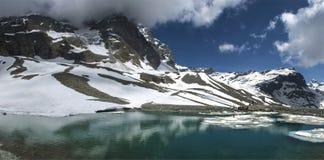 The lake near the refuge Lo Riondè, Aosta Valley Royalty Free Stock Photos