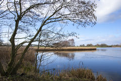 Lake near Sandbach in Cheshire UK. Lake or pond in the Cheshire countryside England  United Kingdom Royalty Free Stock Photography