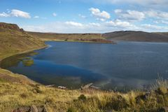 Lake near  Silustani tombs in the peruvian Andes at Puno Peru Stock Images