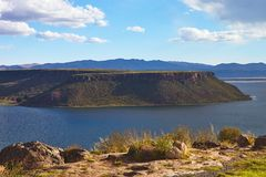 Lake near  Silustani tombs in the peruvian Andes at Puno Peru Stock Photo