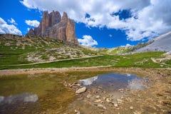 Lake near Tre Cime Mountains Stock Photo