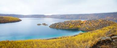 Lake Nemrut  in caldera of volcano Royalty Free Stock Photo