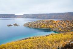 Lake Nemrut in caldera of volcano Stock Photo