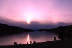 Lake Nevada, Montana. Lake Nevada in Montana at sunset with fog Royalty Free Stock Photos