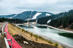 Lake and new relaxation building in Bukovel Royalty Free Stock Image