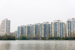 The lake next to Residential building Stock Photography