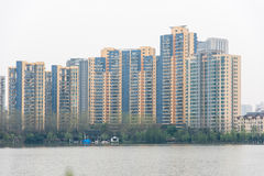 The lake next to Residential building Stock Images